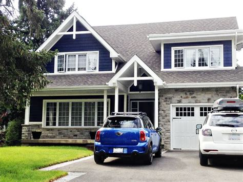 blue exterior paint white trim and gray stacked curb appeal i house