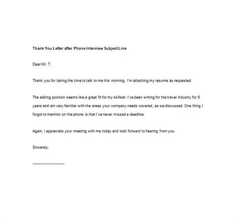 Thank You Letter For Subject Line 8 Thank You Note After Phone Free Sle Exle Format Free