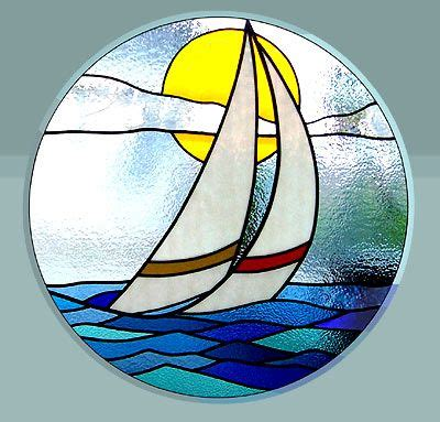 round sailboat sailboat round window stained glass landscape