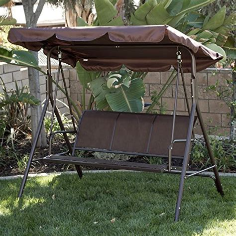 Patio Swing Reviews Cheap Belleze Outdoor 3 Person Patio Swing Canopy Awning