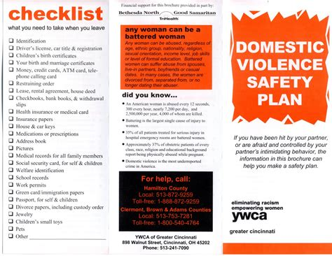 domestic violence safety plan template reclaim at the of cincinnati domestic violence
