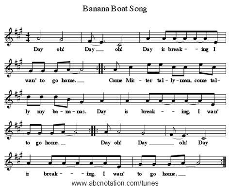 banana boat song notes for violin abc banana boat song www joe offer folkinfo songs