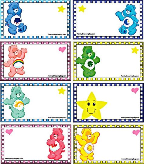printable name tags for gift bags gift bag tags care bears rainbow birthday party pinterest