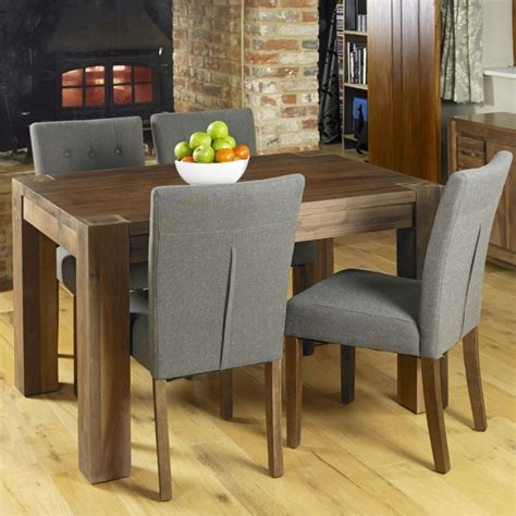 Solid Walnut Dining Table And Chairs Mayan Solid Walnut Wood Modern Furniture Dining Table And Four Chairs Set Ebay