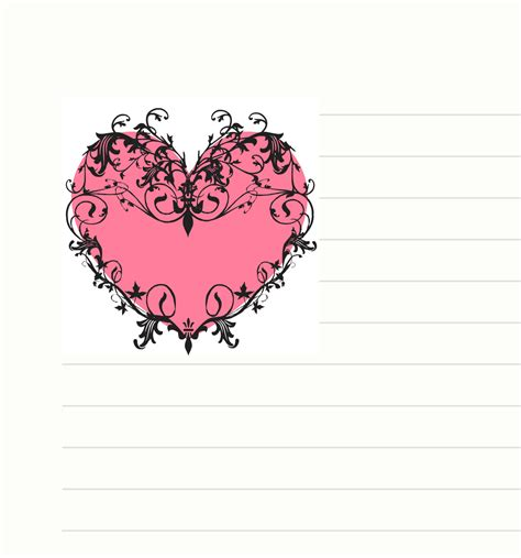 Printable Stationary With Hearts | free printable heart stationary stationery