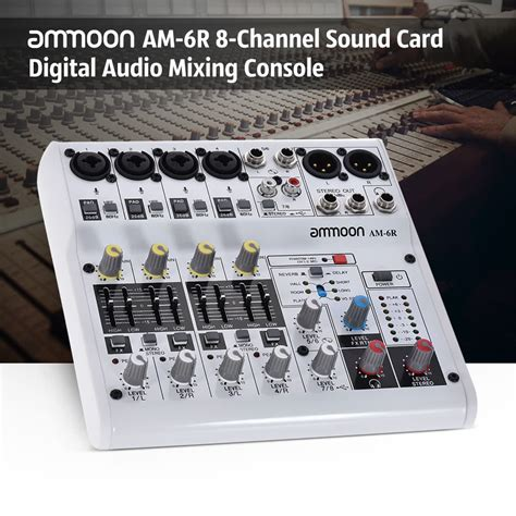 Daftar Audio Mixer Built Up ammoon am 6r 8 channel sound card digital audio mixer mixing console built in 48v phantom power