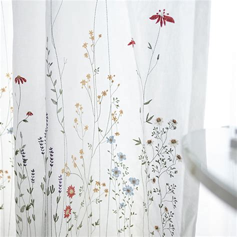 white botanical natural embroidered sheer curtains