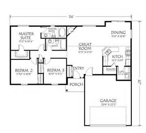 One Story Small House Plans by Single Story Open Floor Plans Single Story Plan 3
