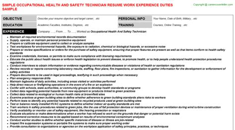 resume format for ot technician occupational health and safety technician resume resumes