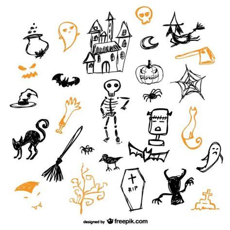 imagenes halloween dibujos conjunto de dibujos de halloween descargar vectores gratis