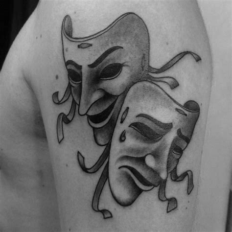 mask tattoos for men 60 drama mask designs for theatre ink ideas