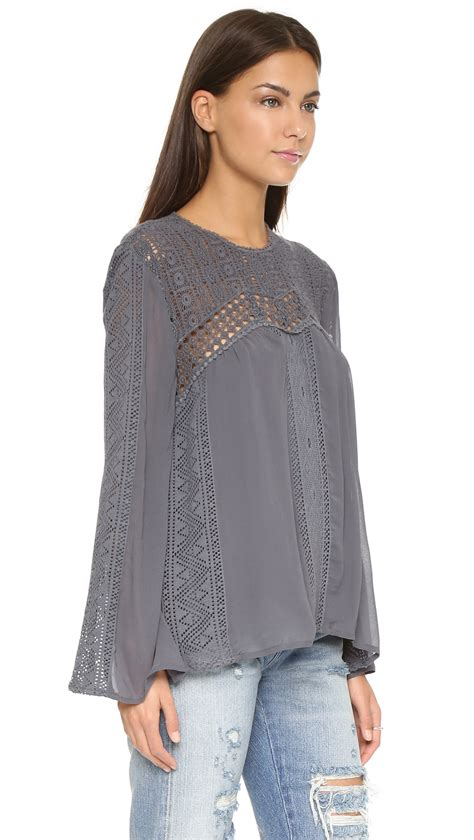 21812 Import Cotton Blouse Gray Mlxl lyst sam lace patchwork blouse charcoal in gray
