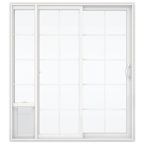 Vinyl Patio Pet Door Jeld Wen 72 In X 80 In White Right Vinyl Patio Door With Low E Argon Glass Grids And