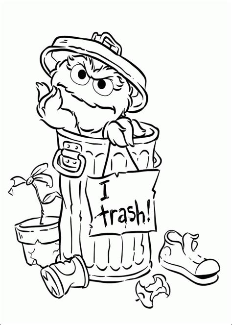 animations a 2 z coloring pages of oscar the grouch