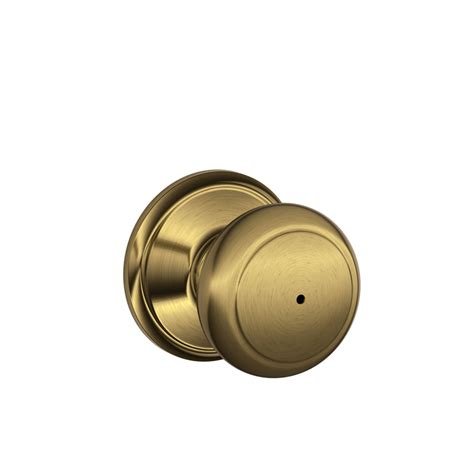 Schlage Andover Door Knobs by Shop Schlage F Andover Antique Brass Push Button