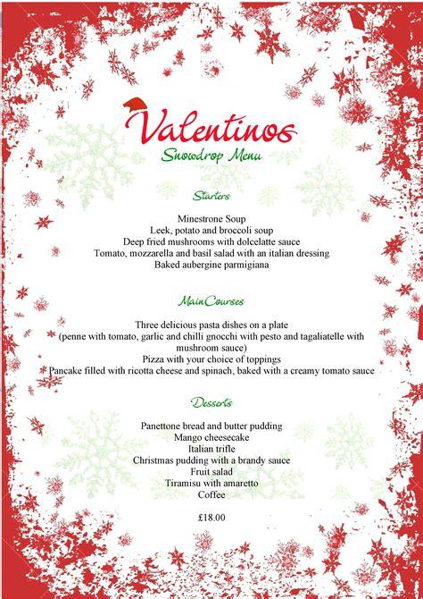 christmas menus valentino s italian restaurant