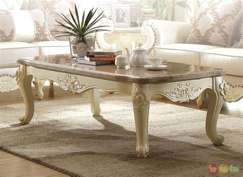 White Vintage Living Room Furniture Traditional Living Room Set W Pearl Bonded Leather And