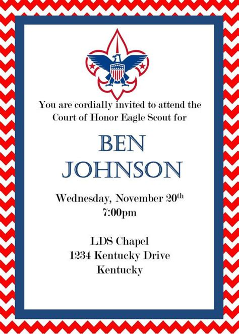 of honor card template eagle scout court of honor invitation