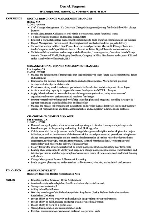 change management manager resume sles velvet