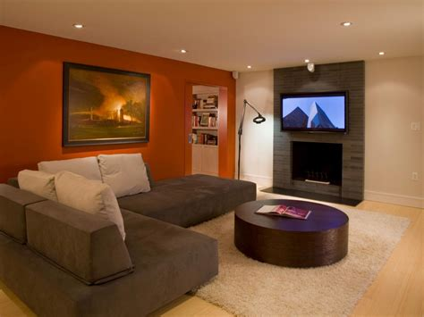 orange accent wall living room photo page hgtv