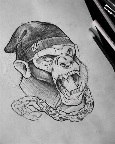 tattoo design sketches angry monkey tattoo idea n 225 vrh pre pinterest
