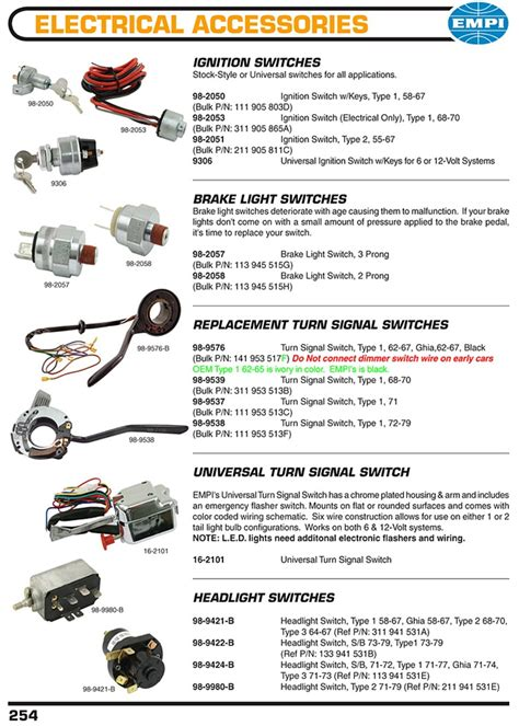 ignition switches brakes light switches turnsignal switches headlight switches  vw