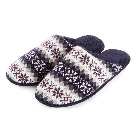 knitted mule slippers totes mens fair isle knit mule slippers totes isotoner