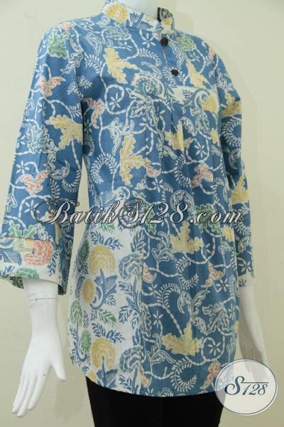 Blus Batik Biru Xl model blus batik warna biru untuk wanita karir dan modern