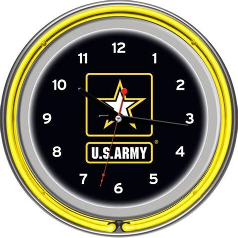 Trademark U S Army 30 In Chrome Padded Army1400 U S Army Chrome Ring Neon Clock