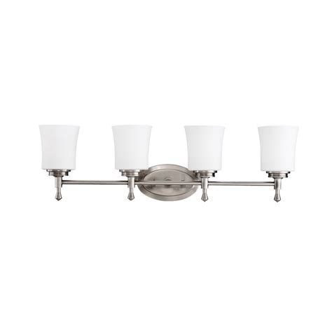 Transitional Bathroom Lighting Shop Kichler Lighting 4 Light Wharton Brushed Nickel Transitional Vanity Light At Lowes