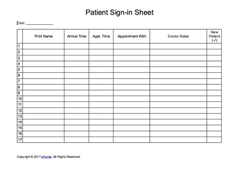 Patient Sign In Sheet Extended Template Eforms Free Fillable Forms Patient Sign In Sheet Template Pdf