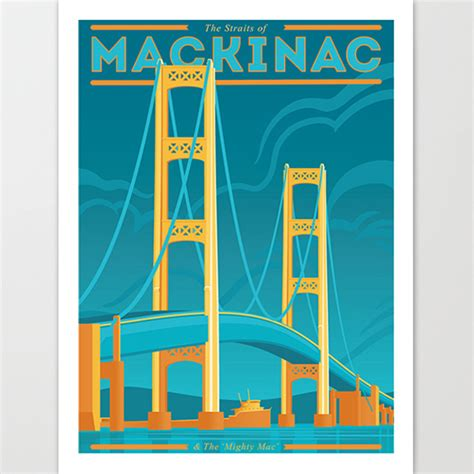 mighty mac the bridge that michigan built books the mighty mac giclee print michigan made products