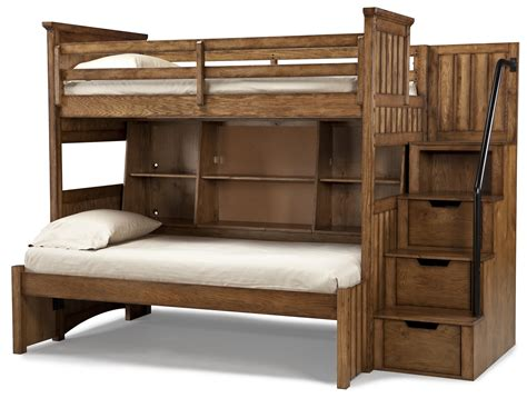 loft shelving classic wooden unfinished bunk beds with stairs hidden storage as well as open shelves built in