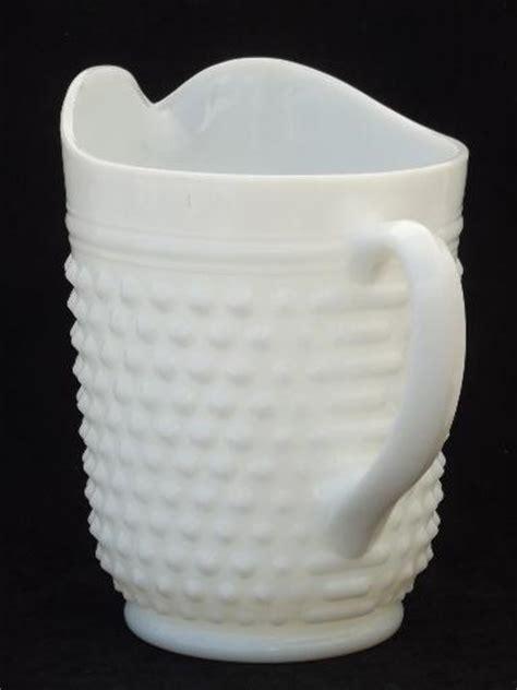 vintage milk glass lemonade set hobnail glass pitcher