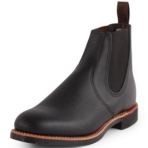 wing chelsea rancher mens leather black chelsea boots