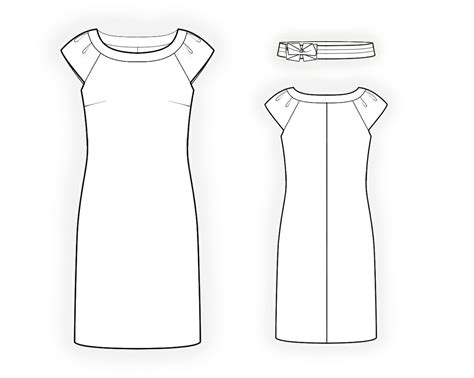 drawing a pattern for dress dress with decorative belt sewing pattern 4316 made to