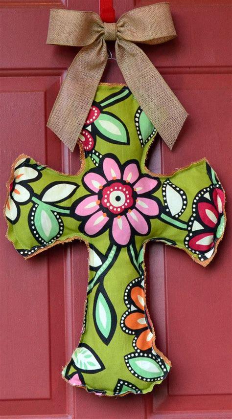 burlap and flower cross door hanger cross