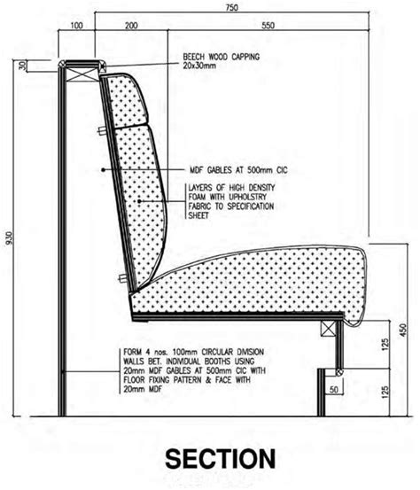 banquette section blueprint interpreting specifications construction 53