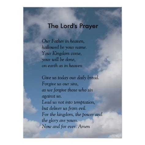 printable version of the lord s prayer scripture template the lord s prayer print zazzle