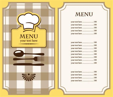 menus templates free set of cafe and restaurant menu cover template vector 03