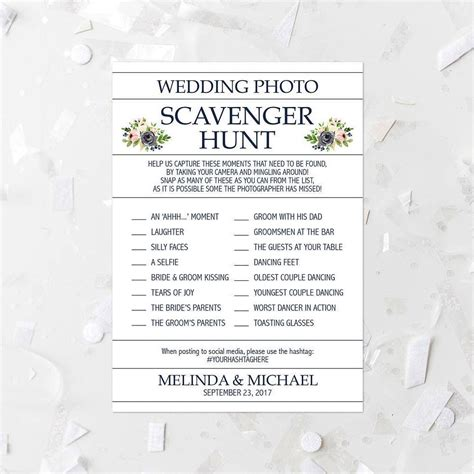Wedding Scavenger Hunt Card Templates by Floral Wedding Photo Scavenger Hunt List Printable Pink