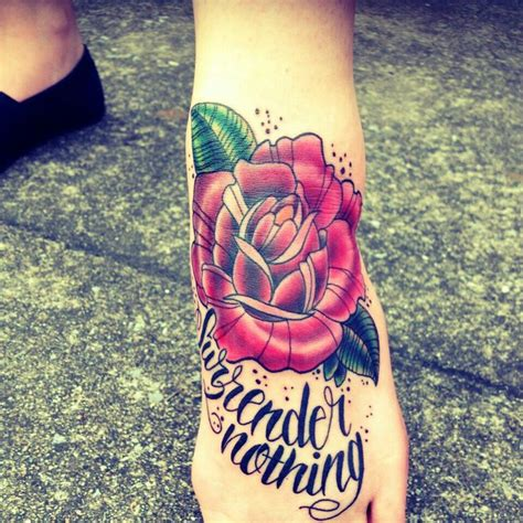 rose script tattoo foot neo traditional script lyrics