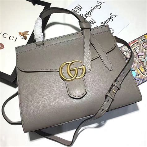 gucci gg marmont leather top handle bag grey 421890