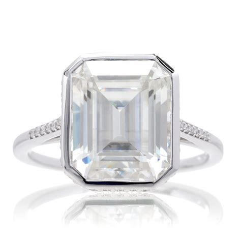 moissanite engagement ring emerald cut with accent