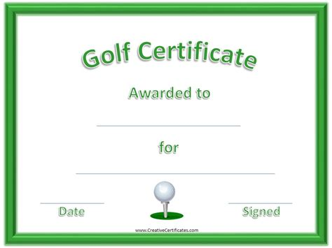 golf handicap certificate template free gallery