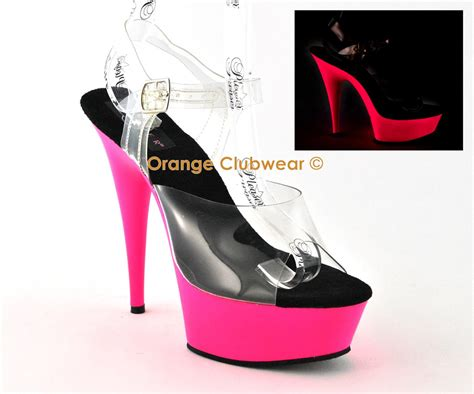 striper high heels pleaser dancer 6 quot high heels uv neon pink