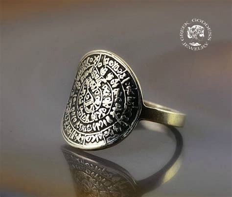 phaistos disc silver ring antique ring phaistos disc silver