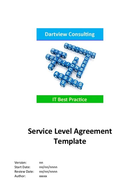 itil service level agreement template itil service level agreement template