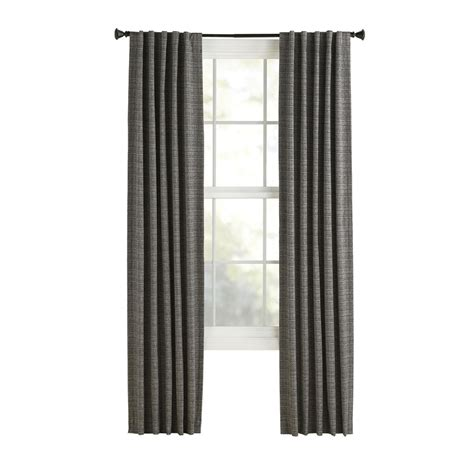 Thermal Back Curtains Shop Style Selections Roberta 84 In L Solid Black Thermal Back Tab Window Window Curtain Panel