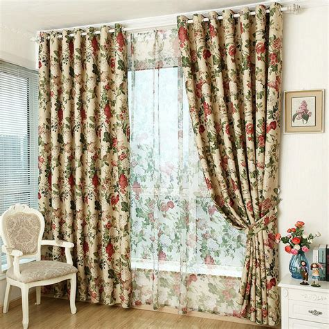 vintage flower curtains window curtain for kitchen living room blackout curtain